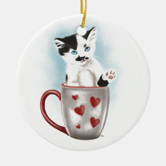 Cute Kitty In The Cup Ceramic Ornament