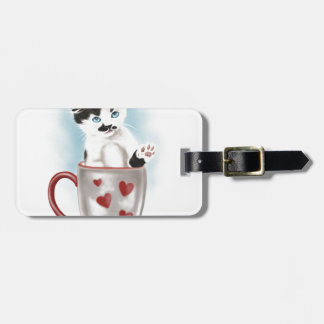 Cute Kitty In The Cup Luggage Tag