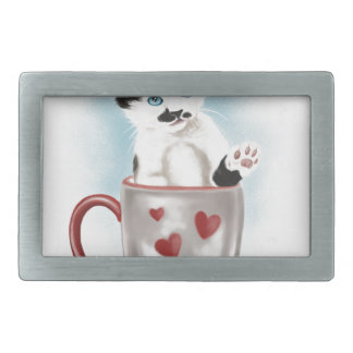 Cute Kitty In The Cup Rectangular Belt Buckle