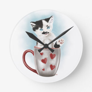 Cute Kitty In The Cup Round Clock