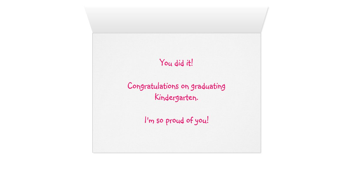 Cute Kitty Kindergarten Graduation Congratulations Card