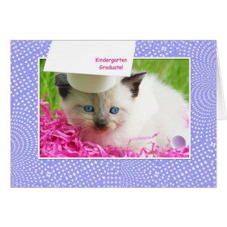 Cute Kitty Kindergarten Graduation Congratulations Cards