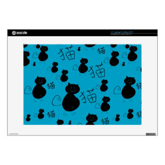 "Cute kitty pattern 15"" laptop decal"
