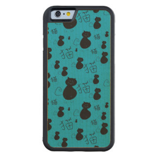 Cute kitty pattern carved® maple iPhone 6 bumper case
