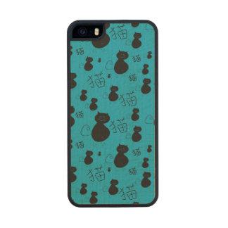 Cute kitty pattern wood iPhone SE/5/5s case