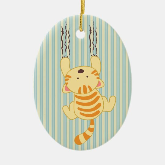 Cute kitty scratching wall fun oval ornament