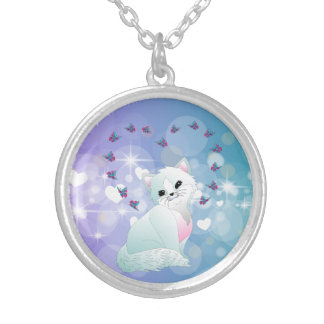 Cute kitty silver plated necklace