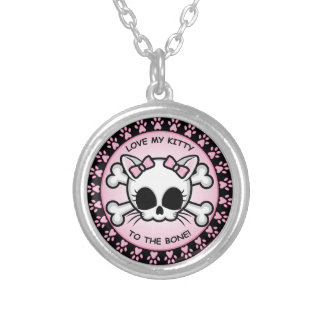 Cute Kitty Skull Silver Plated Necklace