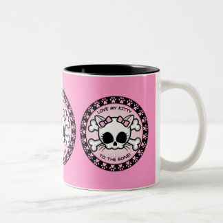 Cute Kitty Skull Two-Tone Coffee Mug