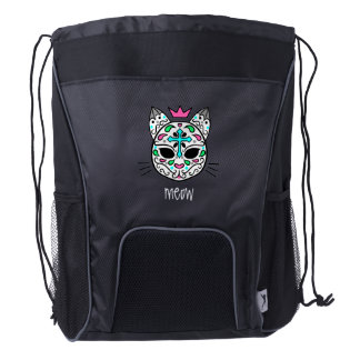Cute kitty sugar skull drawstring backpack