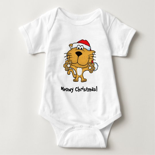 Cute Kitty Wishes Meowy Christmas! Baby Bodysuit