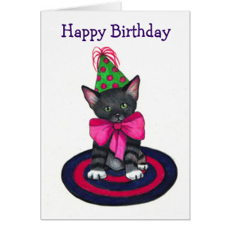 Cute Kitty with Big Pink Bow, Party Hat Greeting Card
