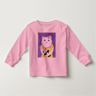 Cute Kitty with Panda Girls Longsleeve Tshirt