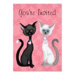 Cute Kity Cats Pink, Black, White Birthday Invite