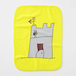 Cute Knights with Bow & Arrow & Sword in Castle Burp Cloth