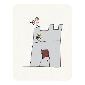 Cute Knights with Bow & Arrow & Sword in Castle Card