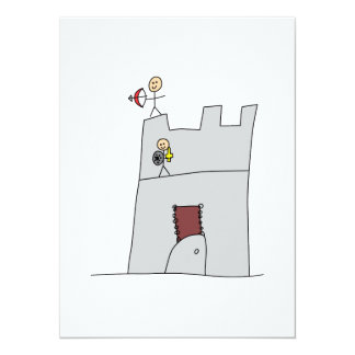 Cute Knights with Bow & Arrow & Sword in Castle 5.5x7.5 Paper Invitation Card