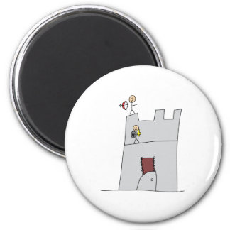 Cute Knights with Bow & Arrow & Sword in Castle 2 Inch Round Magnet