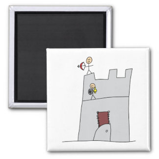 Cute Knights with Bow & Arrow & Sword in Castle 2 Inch Square Magnet