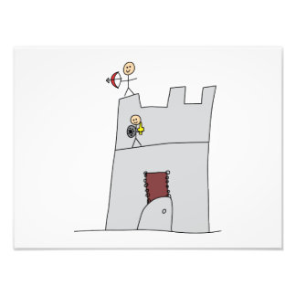 Cute Knights with Bow & Arrow & Sword in Castle Photo Print