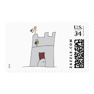 Cute Knights with Bow & Arrow & Sword in Castle Stamp