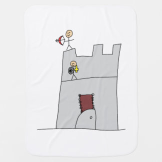 Cute Knights with Bow & Arrow & Sword in Castle Swaddle Blanket