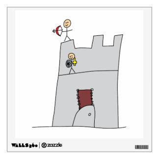 Cute Knights with Bow & Arrow & Sword in Castle Wall Decal