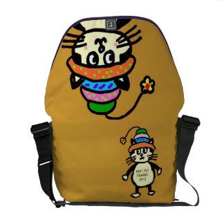 """Cute """"Knit-Rit"""" cat messenger bag - ocher"""