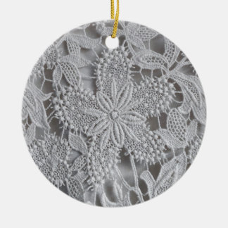 Cute knitted / crocheted doily Star Ceramic Ornament