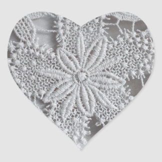 Cute knitted / crocheted doily Star Heart Sticker