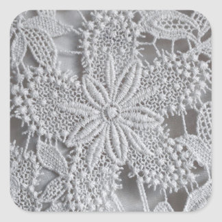 Cute knitted / crocheted doily Star Square Sticker