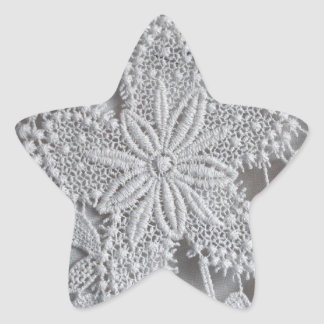 Cute knitted / crocheted doily Star Star Sticker