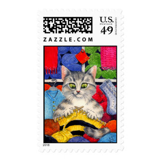 Cute knitting cat postage stamps