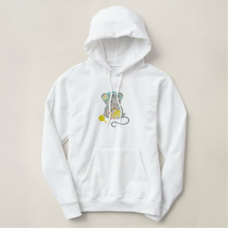 cute knitting crafty mouse animal design embroidered hoodie