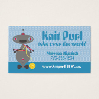 Cute knitting needles yarn robot alien business card