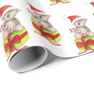 Cute koala and gift art white Christmas wrapping Wrapping Paper
