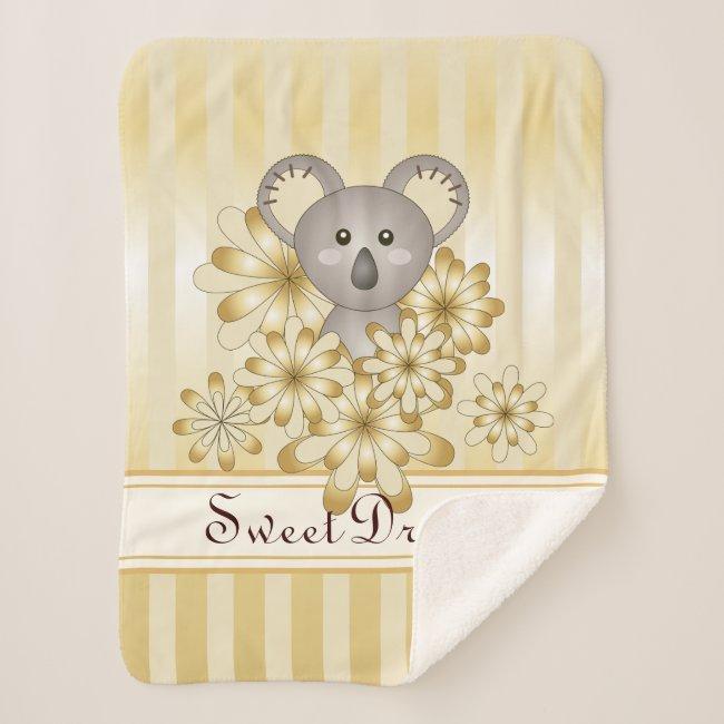 Cute Koala Animal Cartoon Gold Effect Striped