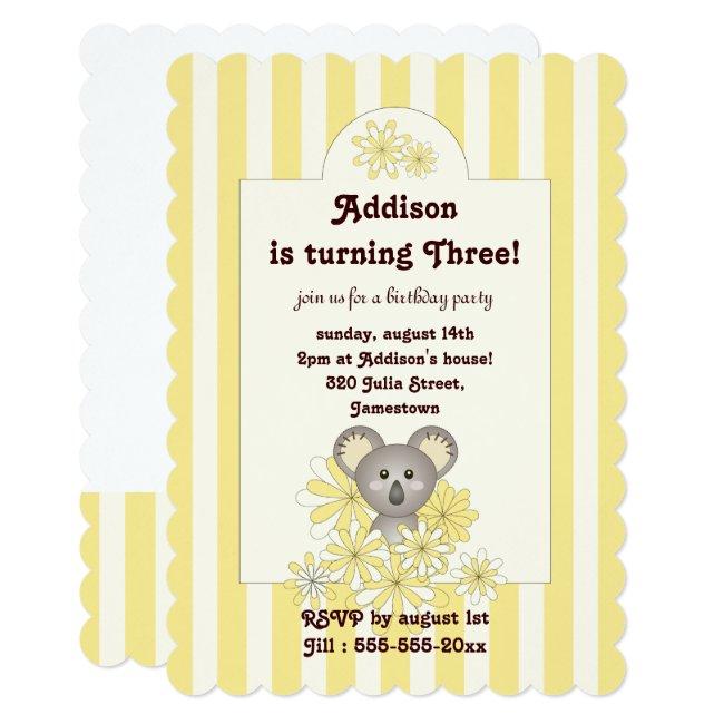 Cute Koala Animal Yellow Kids Birthday Invitations