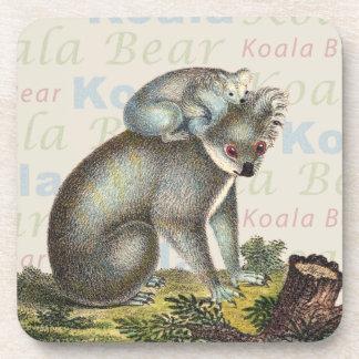 Cute Koala Bear and Baby Antique Collage Coaster
