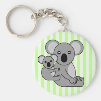 Cute Koala Bear and Baby Basic Round Button Keychain