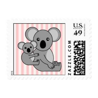 Cute Koala Bear and Baby Pink Postage Stamp