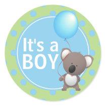 Cute Koala Bear Baby Boy Classic Round Sticker