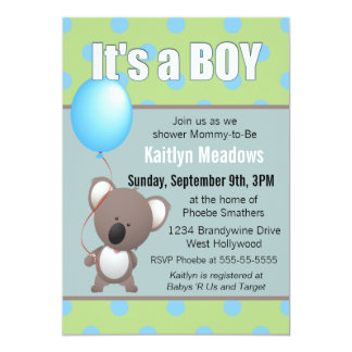 Cute Koala Bear Baby Boy Shower Card