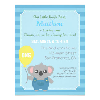 Cute Koala Bear Boy Birthday Party Card