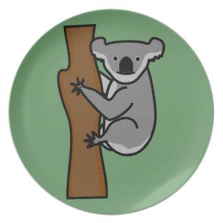 Cute koala bear in a tree dinner plates