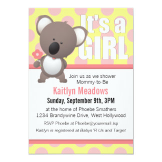 Cute Koala Bear Polka Dots Baby Shower Card