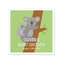 Cute koala bear polka dots baby shower napkins