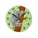 Cute koala bear polka dots nursery wall clock