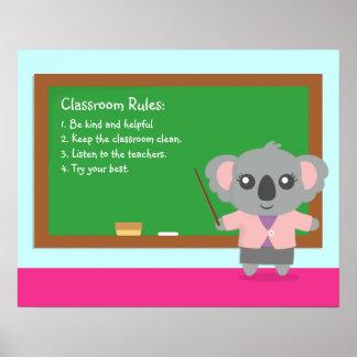 Cute Koala Bear Teacher Classroom Rules Poster