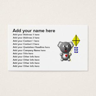 Cute Koala flying a kite Business Card